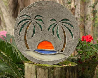 "Beach Scene Stained Glass Stepping Stone Concrete 18"" Diameter with Palms & Sun, Perfect for Your Garden Path Patio, Backyard Fish Pond #809"