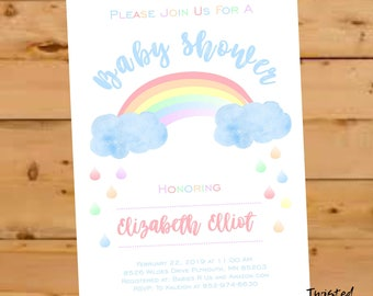 Rainbow Baby Shower Invitation, Rainbow Invitation, Rainbow Sprinkle Invite, Gender Neutral Baby Shower Invite, Baby Shower, Watercolor