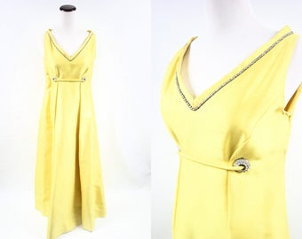 1960's Yellow Silk 'Malcolm Starr' Rhinestone Sleeveless Maxi Party Dress