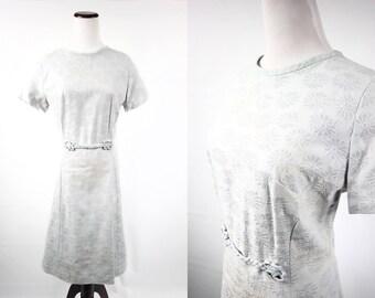 1960's Powder Blue Daisy Tapestry Short-sleeve Dress