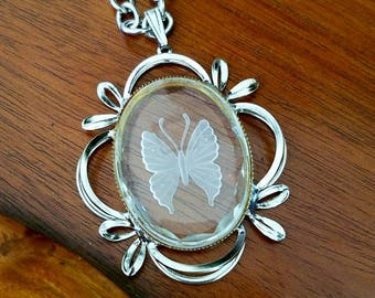 Beautiful Etched Glass Butterfly Necklace