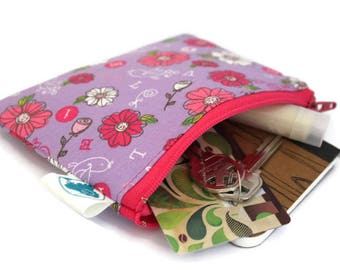 Coin Purse, Coin Bag, Change Purse, Small Cosmetic Bag, Zipper Pouch, Change Pouch in Pink Flowers