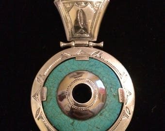 Large Sterling Silver Turquoise West African Tuareg Pendant Necklace