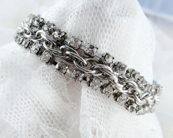 Vintage Rhinestone and Chain Link Bracelet