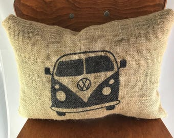 Volkswagen, Burlap, Pillow, Van Burlap Pillow, Car Pillow, Volkswagen Decoration, Burlap Pillow, Volkswagen Gift, Gift For Him, Gift For