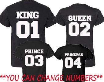Custom Numbers Family Set King Queen Prince Princess Tshirt BACK SIDE WHITE Numbers Best Matching Couples Date King and Queen