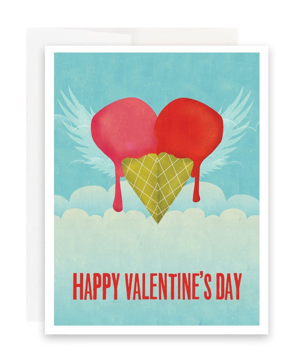Ice Cream Heart Valentine Card