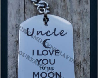 Uncle I love you to the moon and back keychain pendant necklace