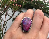 Neon Death ~ Pink Moonstone Coffin Ring - sz 6.5