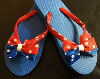 4th Of July Bow Flip Flops, Red, White & Blue Ribbon Wrapped Flip Flops, 4Th Of July Size Medium 13/1 Flip Flops, Girls Ribbon Flip Flops