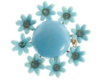 Blue Plastic Flower Brooch