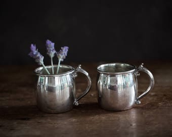 Vintage Silver Plated Cup -  TWO - Baby Cup Small Cup Espresso Cup Punch Cup