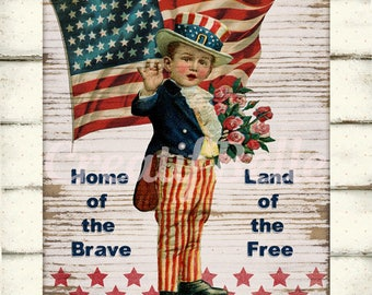 Vintage Patriotic Boy on Wood Instant Digital Download Printable July 4th Graphic Art Transfer Image 0859