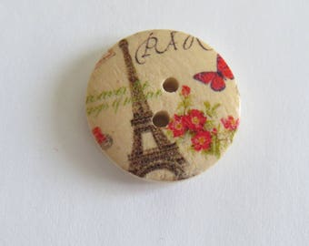 Eiffel Tower patterned red and Brown wooden button