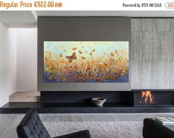 ON SALE Modern abstract art original painting butterflies in nature wall art decor One of a kind artwork free shipping