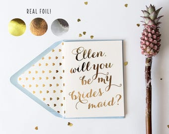 will you be my bridesmaid card / bridesmaid proposal / personalized / gold foil / rose gold foil / silver foil / bridal party card / gift