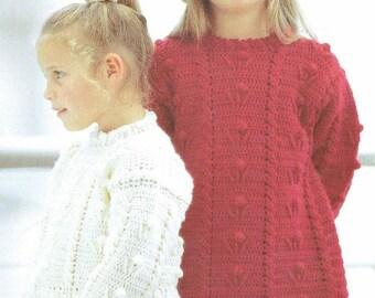 4066S girls jumper crochet vintage pattern PDF instant download