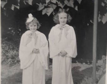 Sisters in costume or choir dresses snapshot 40s