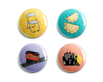 Fun Pittsburgh Magnets + Pittsburgh Pins - Parking Chair, Incline, Pierogis + City Skyline - Valentine's Gift / Galentine's Gift - Set of 4