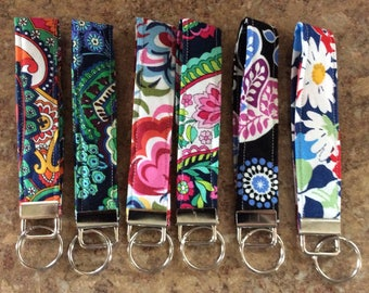 NEW Key Fob Wristlet/Key Chain made w/Vera Bradley Fabric Hand-Crafted ~Gifts under 5 Dollars