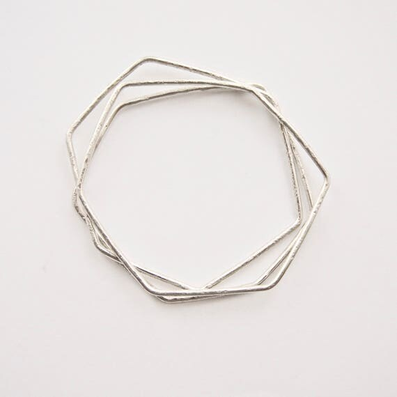 Geometric Stacking Bangles - Three Bangle Set - Sterling Silver