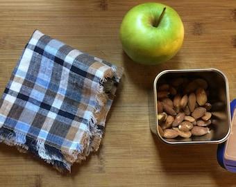 Natural Linen Fluffy Lunch Napkins, eco friendly linen napkins, blue plaid lunch napkin,lunch for kids, christmas gift for teacher