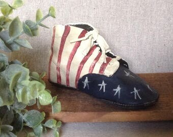 Handpainted Vintage Baby Shoes, Americana Deco Leather Baby Shoes, 50's Baby Shoes, Antique Baby Shoes, Old Glory, Primitive Shoes