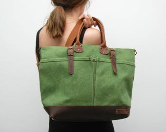 waxed canvas bag with leather handles and closures,moss green color