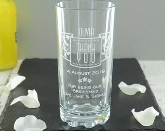 Bridesmaid Thank You Wedding Highball Glass