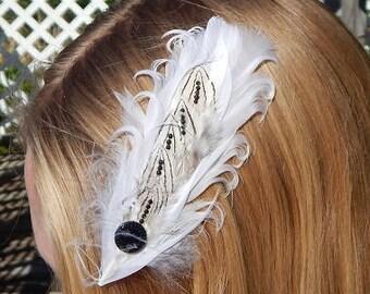 White and black hair feather hair clip