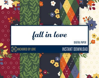 Fall Floral Digital Paper | Fall Flowers Paper | Fall Digital Download | Plaid Digital Paper | Autumn Scrapbook Paper | Fall Scrapbook Paper