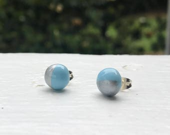 Colorful Stud earrings -- simplistic silver and robin's egg blue studs