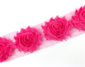Hot Pink Shabby Flower Trim - 2.5 inch Shabby Chiffon Flowers - Headband Accessories - Shabby - 6 flowers