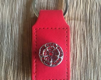 Red Leather Keychain with 18mm Snap Charm