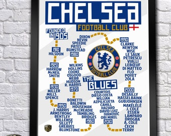 UPDATED! Chelsea FC History Timeline Poster (Terry, Drogba, Hazard, Lampard...) - 18''x24''