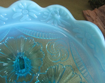 Antique Northwoods Ice Blue Opalescent Dish Beaded Drapes 1905 Candy or Bon Bon Tray