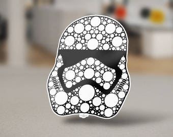 """Stormtrooper New Sticker Design, a pop culture icon. Army from the movie """"Star Wars. Stormtrooper Helmet white on black by Grantedesigns"""