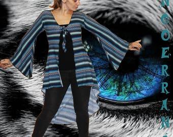 Asymmetrical Cardigan in stretch mesh, long vest, Bohemian vest blue vest 'Paisley'