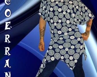 Asymmetrical tunic 'blue bubbles...'