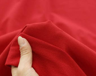 Solid French Baby Terry Knit Fabric by Yard, Width 95cm (37 Inch) - Red