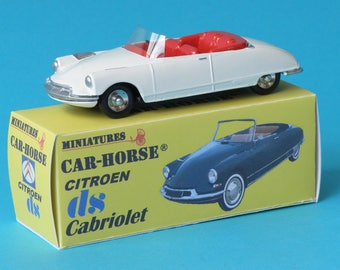 Citroen DS 19 convertible White Rim Dinky car-Horse