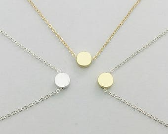Silver Dot necklace, Simple Circle necklace, Minimalist necklace, Delicate Silver, Everyday necklace, Dainty gold, Layering necklace