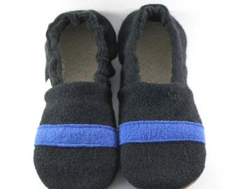 Thin Blue Line- Police Gifts- Adult Slippers- Police Officer- Blue Line- Blue Lives- Blue Lives Matter- Police- Police Family- Wool Slippers