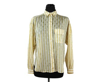 Vintage 1980s Liz Claiborne Striped Golden Yellow and White Oversized Blouse (Size 8)