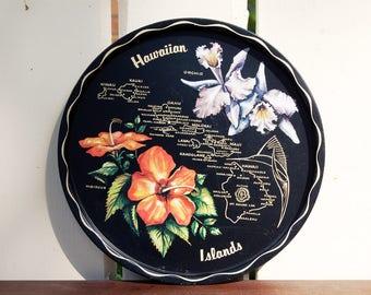 Vintage 1960s Hawaiian Islands Tray / Black and Floral / Hawaii Souvenir Toleware