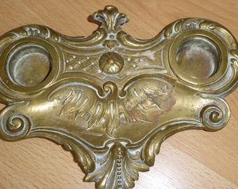 Antique French Brass Inkwell.   Decorative Desk Accessory.  Repurpose