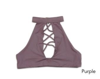 Seamless Collar Halter Ex Bikini Top, Swimsuit, Swimwear, Bathing Suit, Women's Swimwear, Criss Cross Bikini Tops