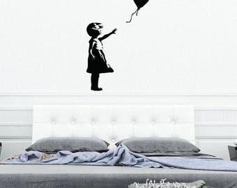 Banksy Wall Decal Flying Balloon Girl SelfAdhesive - Custom vinyl wall decals falling off