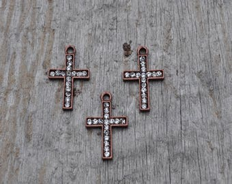 Cross Charm with Crystals  Pendant/4pcs