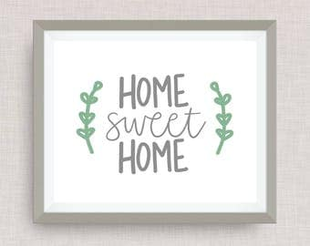 home sweet home home print - hand drawn, hand lettered, Option of Real Gold Foil